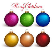Set of Realistic 3D Colorful Christmas Balls Decoration. In White Background. Vector Illustration Stock Photography