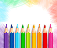 Set of Realistic 3D Colorful Colored Pencils or Crayons. In a Brushed White Background with Texture for Back to School with White Space for Message. Vector Royalty Free Stock Images