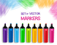 Set of Realistic 3D Colorful Full Markers. In a Brushed White Background with Texture for Back to School with White Space for Message. Vector Illustration Royalty Free Stock Photos