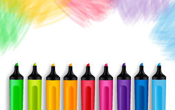 Set of Realistic 3D Colorful Markers. In a Brushed White Background with Texture for Back to School with White Space for Message. Vector Illustration Royalty Free Stock Photo