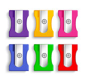 Set of Realistic 3d Colorful Plastic Pencil Sharpeners Stock Photo