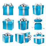 Set of realistic 3d gift boxes. Collection of 3d gift blue boxes with satin silver bows. Realistic vector illustration Stock Photography