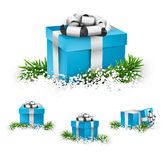 Set of realistic 3d gift boxes. Collection of 3d christmas gift blue boxes with satin silver bows. Realistic vector illustration Stock Image