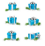 Set of realistic 3d gift boxes. Collection of 3d christmas gift blue boxes with satin silver bows. Realistic vector illustration Royalty Free Stock Photography