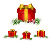Set of realistic 3d gift boxes. Stock Photo