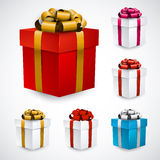 Set of realistic 3d gift boxes. Royalty Free Stock Images