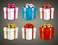 Set of realistic 3d gift boxes. Collection of 3d closed gift boxes with satin bows. Realistic vector illustration Royalty Free Stock Photography