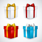 Set of realistic 3d gift boxes. Collection of 3d closed gift boxes with satin bows. Realistic vector illustration Royalty Free Stock Photos