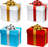 Set of realistic 3d gift boxes. Collection of 3d closed gift boxes with satin bows. Realistic vector illustration Royalty Free Stock Photo