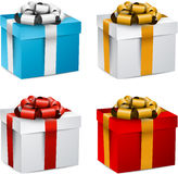 Set of realistic 3d gift boxes. Collection of 3d closed gift boxes with satin bows. Realistic vector illustration Stock Photography