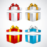 Set of realistic 3d gift boxes. Collection of 3d opened gift boxes with satin bows. Realistic vector illustration Royalty Free Stock Photo