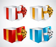 Set of realistic 3d gift boxes. Collection of 3d opened gift boxes with satin bows. Realistic vector illustration Stock Photo
