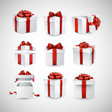 Set of realistic 3d gift boxes. Collection of 3d gift boxes with satin red bows. Realistic vector illustration Stock Image