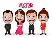Set of Realistic 3D Groom and Party Characters Royalty Free Stock Images
