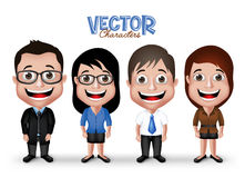 Set of Realistic 3D Professional Man and Woman Characters Happy Smiling. In Formal Dress Attire for Business  in White Background. Editable Vector Illustration Stock Images