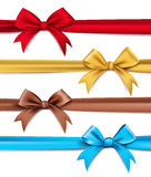 Set of Realistic 3D Silk or Satin Ribbons and Bow Stock Images