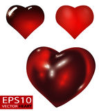 Set of Realistic 3D Valentine hearts vector. Red convex glass heart isolated on white background Stock Image