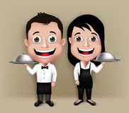 Set of Realistic 3D Waiter and Waitress Characters Stock Photo