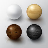 Set of Realistic 3D White Ball and Wooden Sphere.  Stock Photography