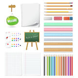 Set of realistic 3d wooden colored pencils, push pins, erasers,. Arrow and blank chalk green board in a frame Royalty Free Stock Photos