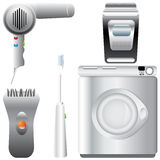 Set of realistic, detailed bathroom appliances Stock Photos