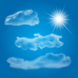 Set of realistic different clouds and shiny sun Stock Image
