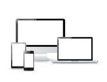 Set of realistic display, electronics. Set of realistic display, laptop, tablet computer and mobile phone template Royalty Free Stock Photos