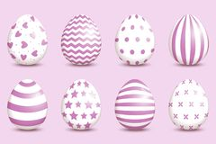 Set of realistic easter decorated eggs on coral background. Easter collection. Vector illustration vector illustration