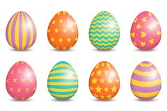 Set of realistic easter decorated eggs isolated on white background. Easter collection. Vector illustration stock illustration