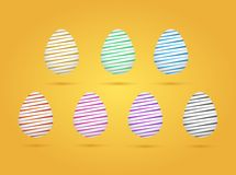 Set of realistic eggs on yellow background. Easter collection. Vector illustration. Set of realistic eggs on yellow background. Easter collection. Vector royalty free illustration