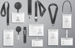 Set of realistic employee identification cards on black lanyards with strap clips, cord and clasps vector i Royalty Free Stock Photography