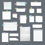 Set of  realistic empty vector paper poster mockup, note. S, sticky, colorful banners and pieces of paper with ripped edges on grey background Royalty Free Stock Photos