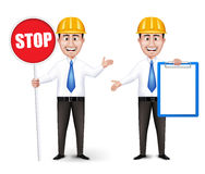 Set of Realistic Engineers or Workers Characters. With Yellow Safety Helmet Holding Empty White Board and Stop Sign in Long Sleeve and Necktie in White royalty free illustration