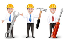 Set of Realistic Engineers or Workers Characters Royalty Free Stock Photos
