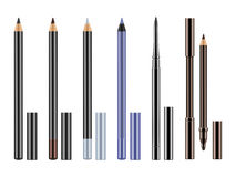 Set of realistic eyeliners, pencils. Set of different types realistic eyeliners. Black, silver, brown and blue pencils for eyes with caps. Cosmetic product for Royalty Free Stock Photos