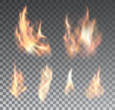 Set of realistic fire flames on transparent. Background. Special effects. Vector illustration. Translucent elements. Transparency grid Stock Image