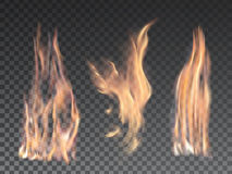 Set of realistic fire flames on transparent. Background. Special effects. Vector illustration. Translucent elements. Transparency grid Stock Photography