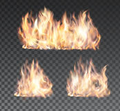 Set of realistic fire flames on transparent. Background. Special effects. Vector illustration. Translucent elements. Transparency grid. Vector campfire set vol Stock Photography