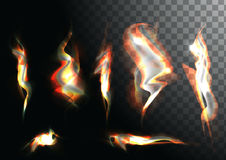 Set of realistic fire flames on transparent. Background. Special effects. Vector illustration. Translucent elements. Transparency grid. Vector campfire set Royalty Free Stock Photo