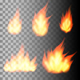 Set of realistic fire flames. On transparent background. Vector illustration Royalty Free Stock Images
