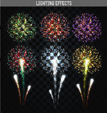 Set of 6 realistic fireworks different colors. Festive, bright firework. For collage and design brochures, poster, wrapping paper, greeting card. Salute with Royalty Free Stock Images
