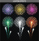 Set of 6 realistic fireworks different colors. Festive, bright firework. For collage and design brochures, poster, wrapping paper, greeting card. Salute with Stock Photos