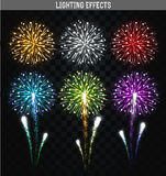 Set of 6 realistic fireworks different colors. Festive, bright firework. For collage and design brochures, poster, wrapping paper, greeting card. Salute with Royalty Free Stock Photography
