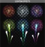 Set of 6 realistic fireworks different colors. Festive, bright firework. For collage and design brochures, poster, wrapping paper, greeting card. Salute with Stock Images