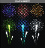 Set of 6 realistic fireworks different colors. Festive, bright firework. For collage and design brochures, poster, wrapping paper, greeting card. Salute with Royalty Free Stock Photos