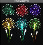 Set of 6 realistic fireworks different colors. Festive, bright firework. For collage and design brochures, poster, wrapping paper, greeting card. Salute with Stock Image