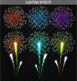 Set of 6 realistic fireworks different colors. Festive, bright firework. For collage and design brochures, poster, wrapping paper, greeting card. Salute with Stock Photography