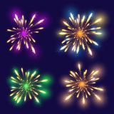 Set of 4 realistic fireworks different colors Royalty Free Stock Images