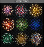 Set 9 realistic fireworks different shapes. Colorful festive, bright firework. Set 9 realistic firework different shapes. Colorful festive, bright firework Stock Photo