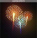 Set realistic fireworks different shapes. Colorful festive, bright firework Stock Photo